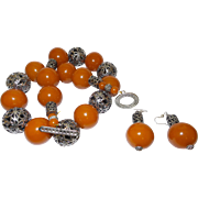 Artisan Hand Strung Carnelian Colored Lucite Bead Necklace with Bali Silver