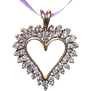 Estate 10 KYG Open Heart Diamond Pendant