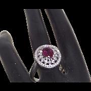 14KWG Pink Tourmaline Filigree Ring with Diamonds