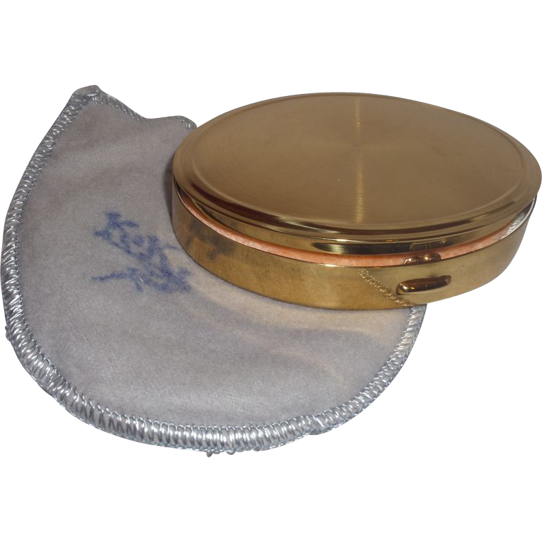 Vintage Signed KK Oval Compact with Storage Pouch