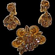 Juliana DeLizza  & Elster Rhinestone Cup Bead Brooch with Earrings