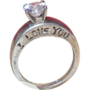 "Vintage Sterling Silver Ring with a 7mm CZ Stone with the Words ""I Love You"""