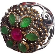 Vintage Ethnic Emerald and Ruby Ring set in Silver