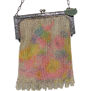 Vintage 1930 's Whiting and Davis Dresden Mesh Bag With the Original Hang Tag