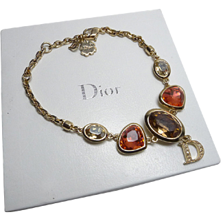 Authentic Christian Dior Glass Rhinestone Crystal D Logo Charm Bracelet
