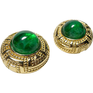 Authentic Christian Dior Vintage Emerald Glass Art Deco Style Clip Earrings