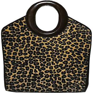 Authentic Christian Dior Vintage Leopard Print Calf Hair O Handbag