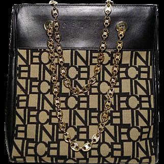 Authentic Celine Vintage Block Letter C E L I N E Logo Tote Rare