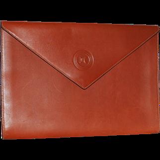 Authentic Celine Vintage Barenia Leather Envelope XL Clutch Portfolio