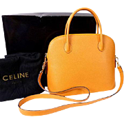 Authentic CELINE Vintage YELLOW Leather 2 Way Satchel Shoulder Bag Bolide RARE