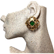 Authentic Chanel 1988 Vintage Green Gripoix CC Clip Earrings