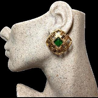 Authentic Chanel 1988 Vintage Green Gripoix CC Clip Earrings