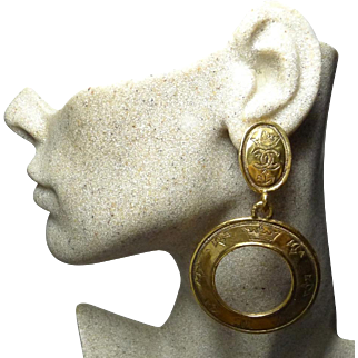 Authentic Chanel 1991 Vintage Crown CC Dangle Clip Earrings Rare