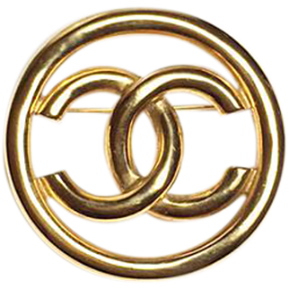 Authentic Chanel 1993 Vintage Gold Plate CC Emblem Brooch Pin