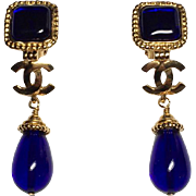 Authentic Chanel 1996 Vintage Blue Gripoix Glass CC Dangle Earrings