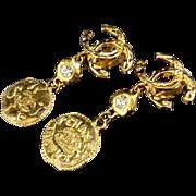 Chanel CC Coin Crystal Dangle Earrings As Seen On Kim Kardashian