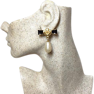Authentic Chanel Vintage Camellia Enamel and Glass Pearl Drop Earrings