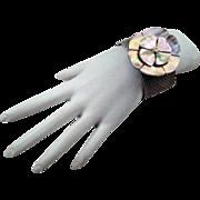 Authentic Chanel Capiz Shell Camellia Silver Mesh Toggle Bracelet Rare