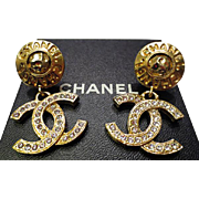 Authentic Chanel Vintage Large CC Crystal Dangle Statement Clip Earrings RARE