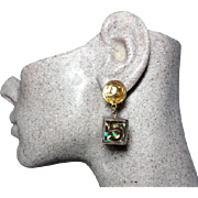 Authentic Chanel Golden Holographic Cube No. 5 CC Dangle Clip Earrings
