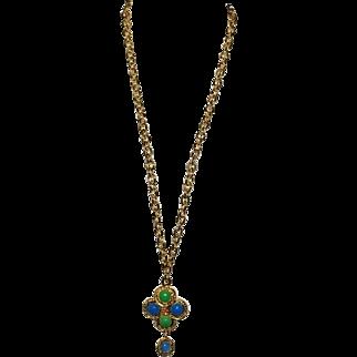 Authentic Chanel Vintage Blue Green Gripoix Glass Necklace Rare