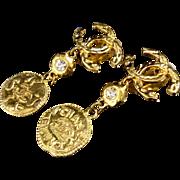 As seen on Kim Kardashian CHANEL CC Round Coin Swing Drop Vintage Earrings