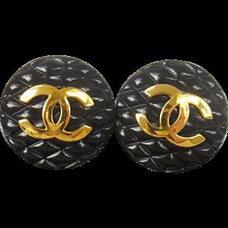 Authentic CHANEL Vintage Large CC Matelasse Black Clip Earrings RARE