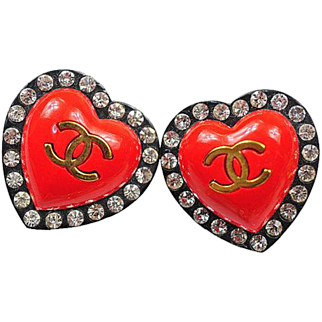 Authentic Chanel Vintage Red Heart CC Crystal Clip On Earrings ULTRA RARE