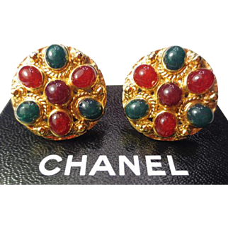 Authentic Chanel Tri-color Gripoix Gold Plate Clip Earrings Rare