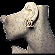 Authentic Chanel Vintage Crystal CC Turnstile Lock Earrings