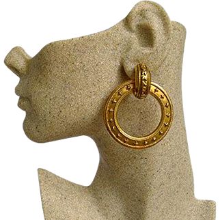 Authentic Chanel 2-Way 1991 Vintage Gold Plated Clip Earrings Super Chic
