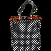 Authentic Christian Lacroix Polka Dot Black Red Tote Shoulder Bag
