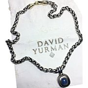 Authentic David Yurman Sterling and 14k Gold Chalcedony Enhancer Necklace