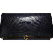 Authentic Gucci Vintage Blue Lizard Leather Frame Clutch Bag