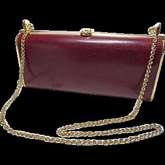 Authentic Gucci Vintage Burgundy Lizard 2 Way Evening Bag Rare