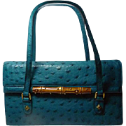 Authentic Gucci Teal Blue Ostrich and Bamboo Handbag Rare