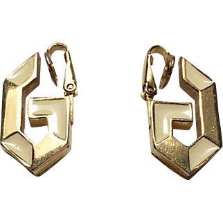 Authentic Givenchy Vintage Gold-Tone and Enamel G Clip Earrings