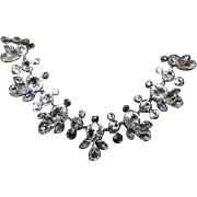 Authentic Givenchy Vintage Grey Clear Crystal Cluster Collar Necklace PRICE: $298.00 (USD)
