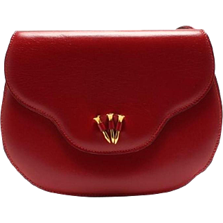 Authentic Hermes Paula Red Box Calf Leather 2 Way Clutch Shoulder Bag