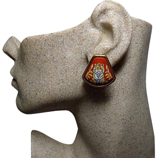 Authentic Hermes Vintage Tigre Royale Royal Tiger Red Enamel Clip Earrings