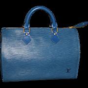Authentic Louis Vuitton vintage Toledo blue Epi Speedy 35 handbag purse