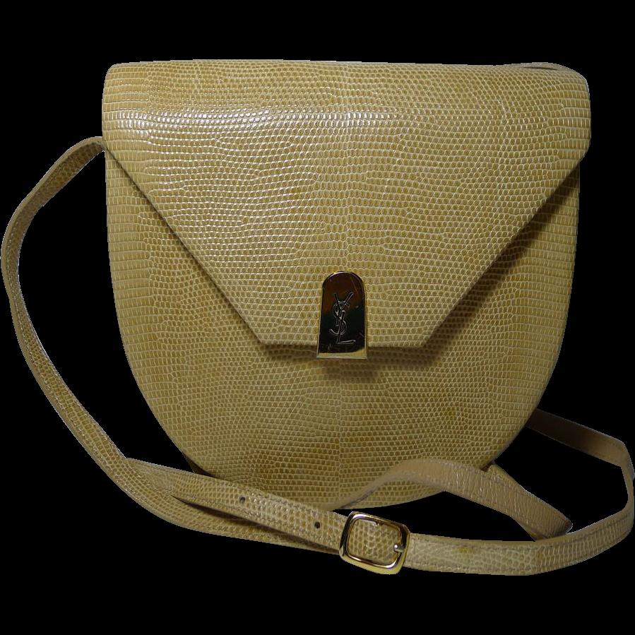 Authentic Yves Saint Laurent YSL Beige Lizard Leather Shoulder Bag ...