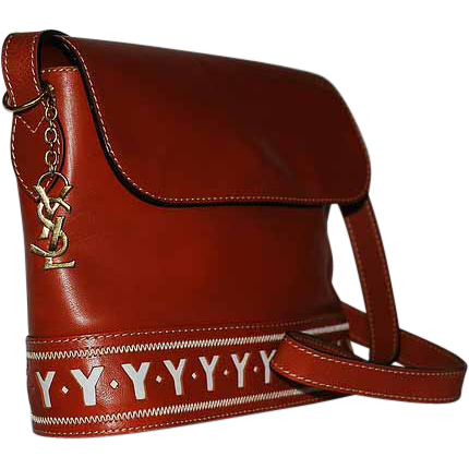Authentic Yves Saint Laurent YSL Cognac Leather Y Cutout Shoulder ...