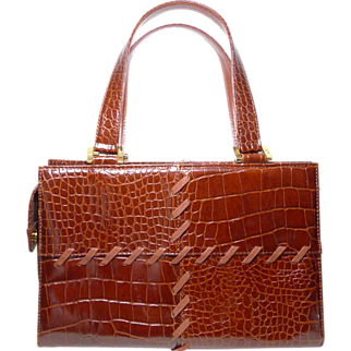 Authentic Yves St Laurent YSL Vintage Chestnut Brown Croc Embossed Handbag