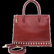 Authentic Yves Saint Laurent YSL RED Cowhide Leather Vintage Y Cutout 2 Way Shoulder Bag Satchel Tote