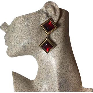Authentic Yves Saint Laurent YSL Vintage Red Glass Clip Earrings