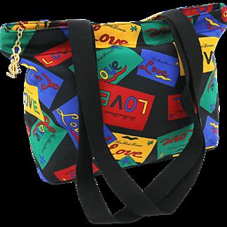 Authentic Yves Saint Laurent Multicolor Vintage L O V E Shoulder Bag Tote Collectors Piece