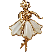 Vintage Coro Goldtone Dancer Pin with Molded Milk Glass Skirt