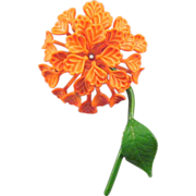 Dimensional Orange Enameled 1960s Puff Blossom Flower Pin