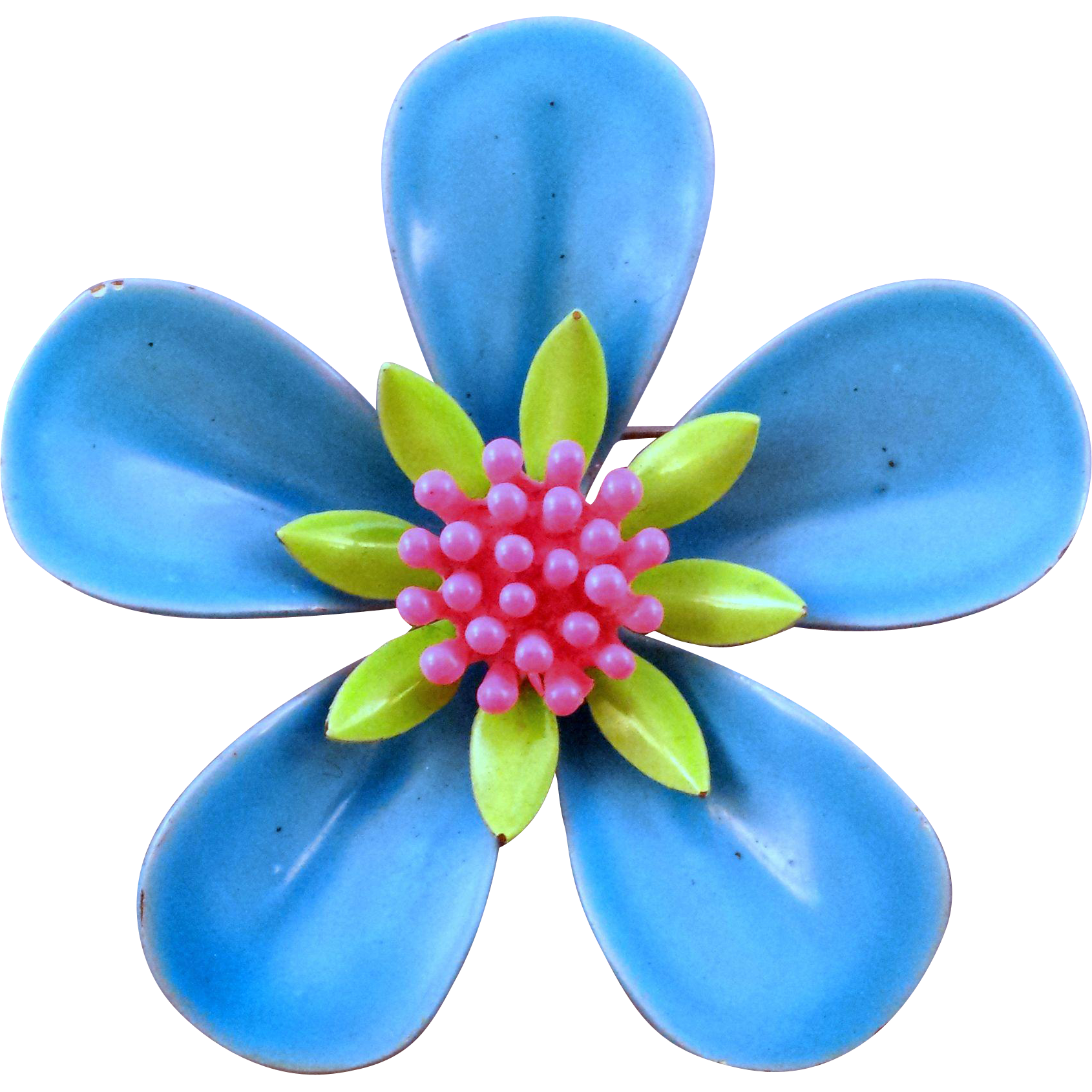 Blue green and pink 1960s 5 petaled enameled metal flower pin blue green and pink 1960s 5 petaled enameled metal flower pin retro jewels ruby lane mightylinksfo